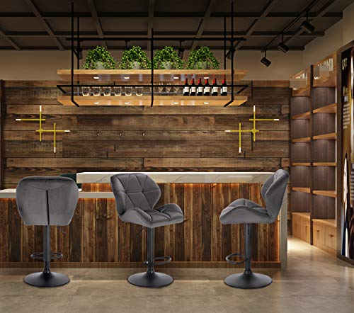 WOLTU BH139dgr-2 Lot de 2 Tabouret de Bar réglable en Hauteur Chaise Haute pour Bar avec Dossier siège rembouré en…