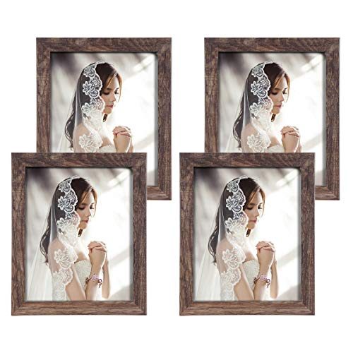 Q.Hou 8x10 Picture Frame Wood Patten Rustic Brown Photo Frames Packs 4 with High Difinition Glass for Tabletop or Wall Decor (QH-PF8X10-BR) (Table Tops Wooden Reclaimed)