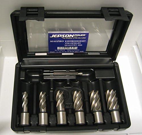 Kernbohrer SET 7 teilig 19 Weldon bestehend aus Kernbohrer 12, 14, 16, 18, 20, 22 und Zentriebohrer Schnittiefe 30 mm