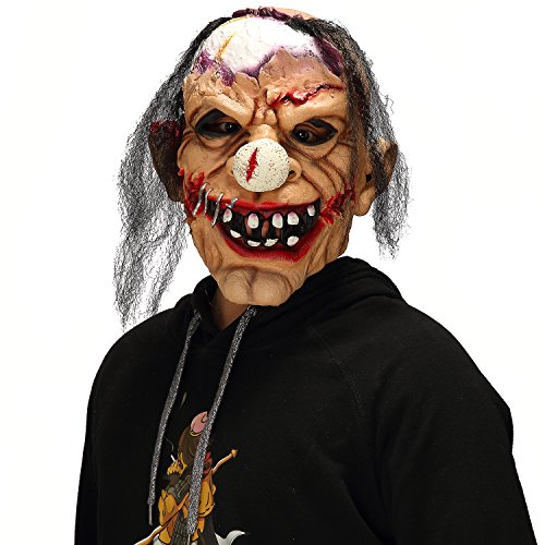 Mo Fang Gong She Halloween Scary Cosplay Prop,Evil Bloody Rot Face Zombie Clown Horror Mask