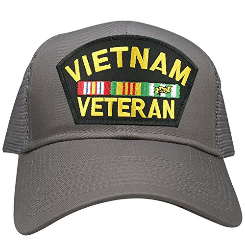Vietnam Vet Hat Patch - Military Vietnam Veteran Large Embroidered Iron on Patch Adjustable Mesh Trucker Cap - GREY