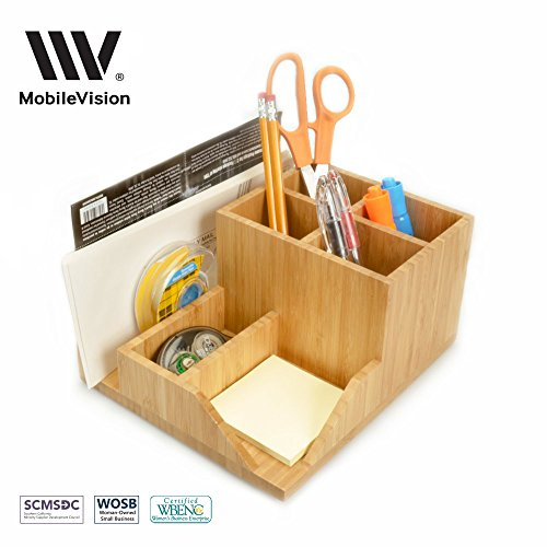 Bamboo Clip (MobileVision Bamboo Multi-Function Desktop Organizer; Store stationary items like notepads, file folders, paperclips, business cards, pens, & more)