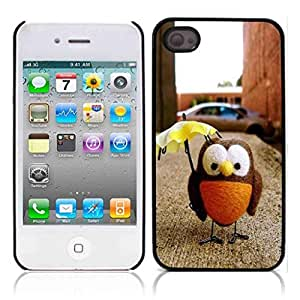 LJF phone case Owls Owl Cute Pattern Hard Plastic and Aluminum Back Case for Apple iphone 4 4S