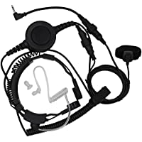 TENQ Military Tactical Throat Mic Headset Earpiece with Big Finger PTT for 2 Two Way Radio Walkie Talkie 1 Pin Jack Motorola Talkabout