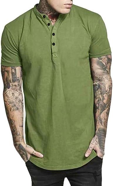 VEMOW - Camisa de Manga Corta para Hombre Verde XXL: Amazon.es: Ropa y accesorios