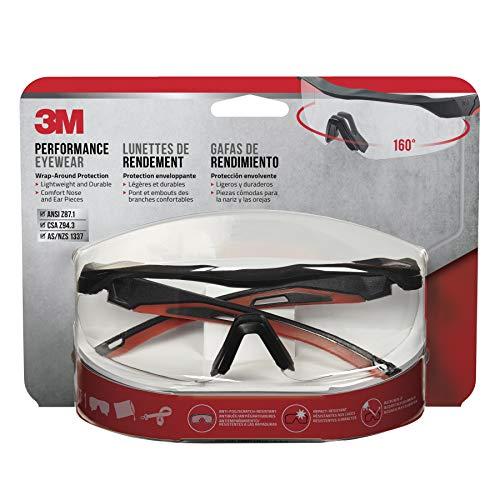 3M 47090-WZ4 Safety Eyewear, Aerodynamic Design, Black w/Red Accent Frame, Clear Lens, Anti-Fog