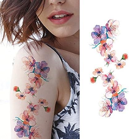 Oottati Tatuajes Temporales Mujer Flor De La Tinta (2 hojas ...