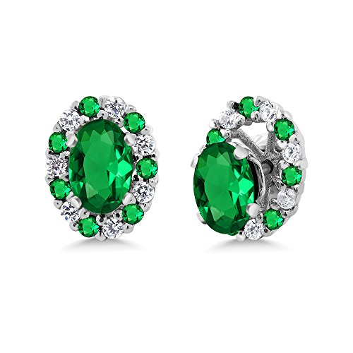 Gem Stone King 1.16 Ct Oval Green Simulated Emerald 925 Sterling Silver Earrings with - Womens Emerald Jacket