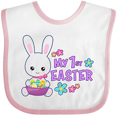 Inktastic - My 1st Easter with Bunny and Easter Basket Baby Bib White/Pink 2eb3e