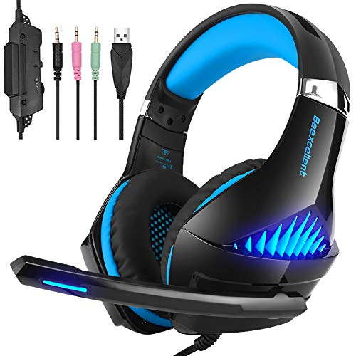 Gaming Headset Xbox One, Fuleadture Stereo PS4 Headset with Mic, Noise Cancelling Over Ear Headphones with Surround Sound, LED Light, Soft Memory Earmuffs for Nintendo Switch PC Laptop