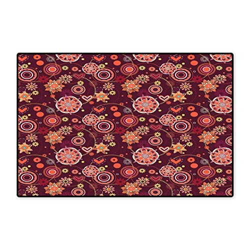 Red and Brown Door Mats Area Rug Vintage Rich Foliage Pattern Ornamental Spring Flowers and Circles Floor mat Bath Mat 20