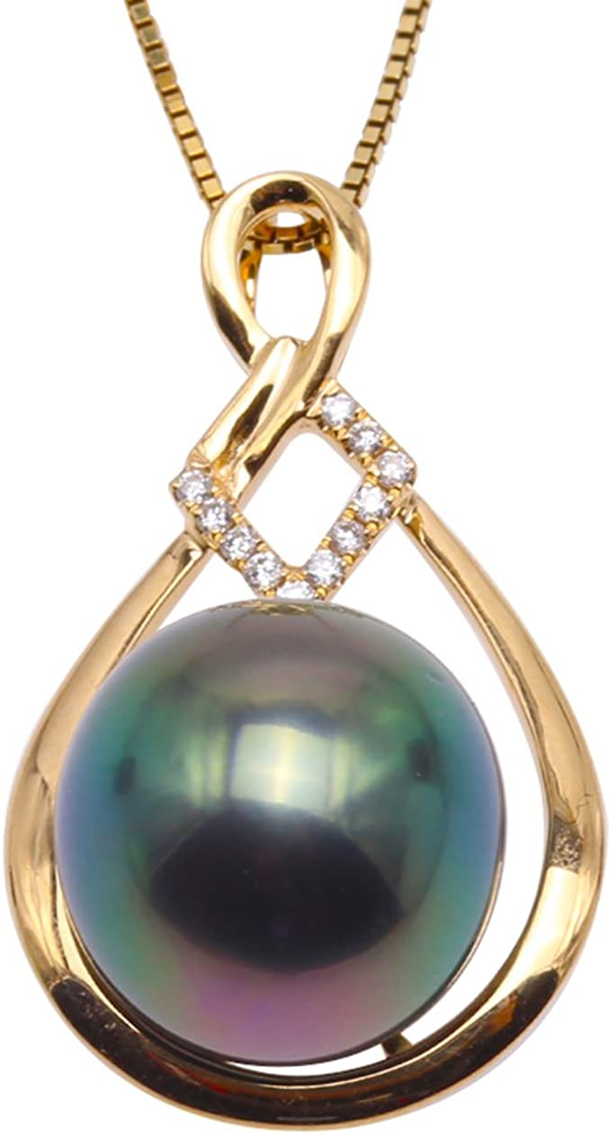 Peacock Green Tahitian Pearl 11.5mm on 925 Sterling Silver Pendant