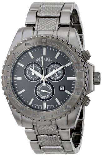 August Steiner Men's AS8104BK Swiss Quartz Chronograph Grey Dial Gun Bracelet Watch