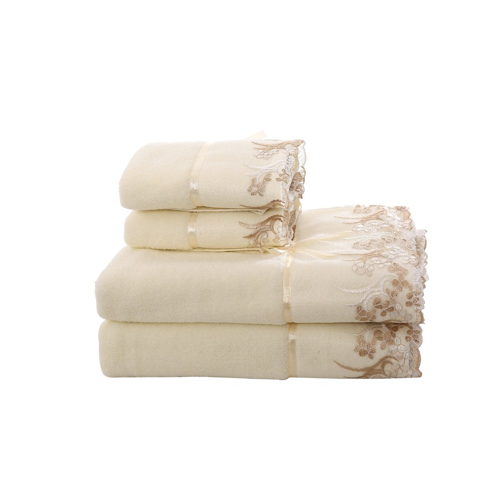 Cotton bath towels decorative beige lace embroidered towel for Beige bathroom set