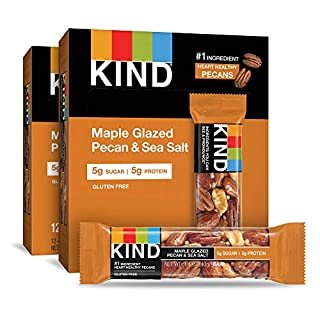 KIND Bars, Maple Glazed Pecan and Sea Salt, Gluten Free, Low Sugar, 1.4 Ounce Bars, 24 Count