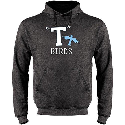 (T Birds Gang Logo Costume Retro Heather Charcoal Gray L Mens Fleece Hoodie)
