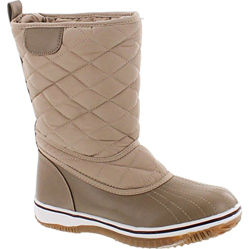 Beige Snow Boots (Refresh Snow-01 Women's Lace Up Waterproof Quilted Mid Calf Winter Snow Boots,Taupe,7)