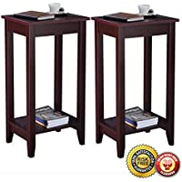 New Set of 2 COSTWAY Tall End Table Coffee Stand Night Side Accent Furniture Brown