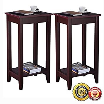 tall end tables. New Set Of 2 COSTWAY Tall End Table Coffee Stand Night Side Accent Furniture Brown Tables