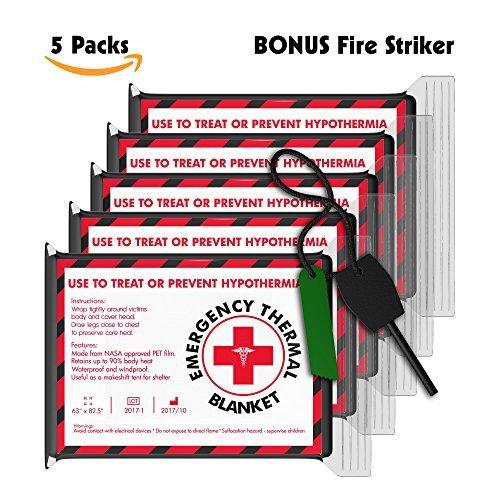 Free Bonus - Juego de 5 mantas de emergencia (extra grandes, 152,4 x 86,35 cm) – Kit de terremoto, bolsa para chimeneas,...