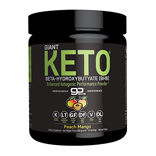 Giant Keto-Exogenous Ketone Powder - Beta-Hydroxybutyrate Keto Supplement Designed to Support Your Ketogenic Diet, Boost Energy and Burn Fat in Ketosis - Peach Mango - 10 servings