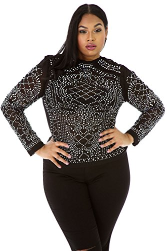 OUR WINGS Women Black Iridescent Stones Long Sleeves Plus Top XL