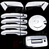 A-PADS Chrome Covers Combo Set For Chevy SILVERADO 2500/3500 + HD 2014 - 2 Top Half Mirrors + 4 Door Handles WITH Passenger Keyhole + 1 Gas Door + 1 Tailgate WITH Keyhole