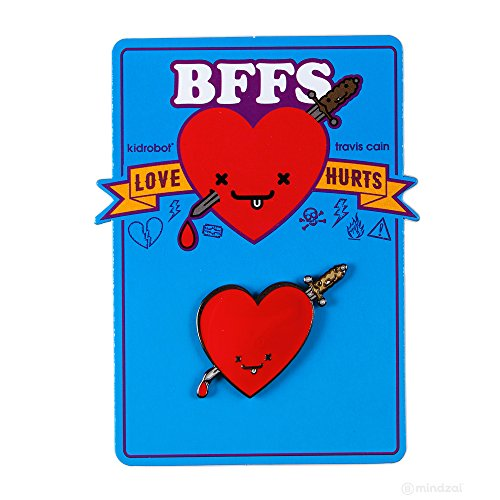 BFFS Jimmy and Ice Enamel Heart and Sword Pin by Kidrobot x Travis Cain