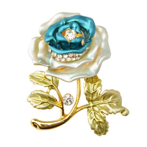 Vintage Rhinestone Flower Brooches for Women Lapel Pins Crystal Broches Bouquets Jewelery Broach Valentine Gift Blue R TOOGOO