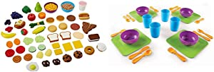 Learning Resources New Sprouts Complete Play Food Set, 50 Pieces,Assorted & New Sprouts Serve It! Dish Set, Early Social Interactions, 24 Piece, Ages 2+,Multicolor,7 L x 7 W in