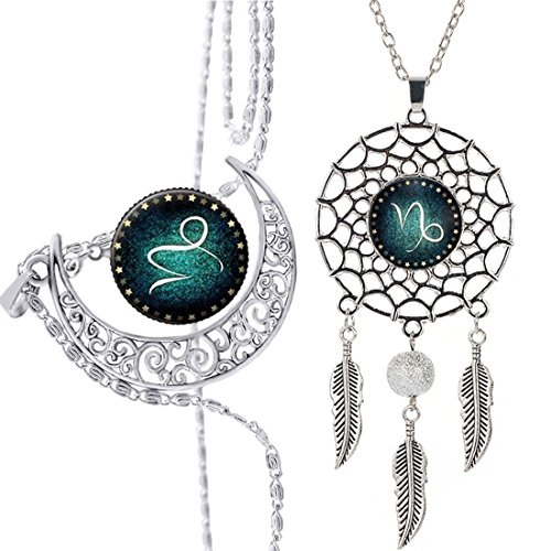 RagBear Dreamcatcher Necklace Pendant Blue Dream Catcher Necklaces For Men Capricornus
