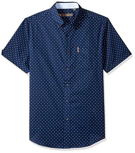 Ben Sherman Men's SS Starburst Print Shirt, Navy, L (Ben Sherman Mens)