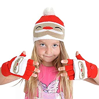 f52a63292d83d Kids Xmas Christmas Hat And Gloves Set Mittens Cosy Pom Pom Beanie Red  Santa  Amazon.co.uk  Clothing
