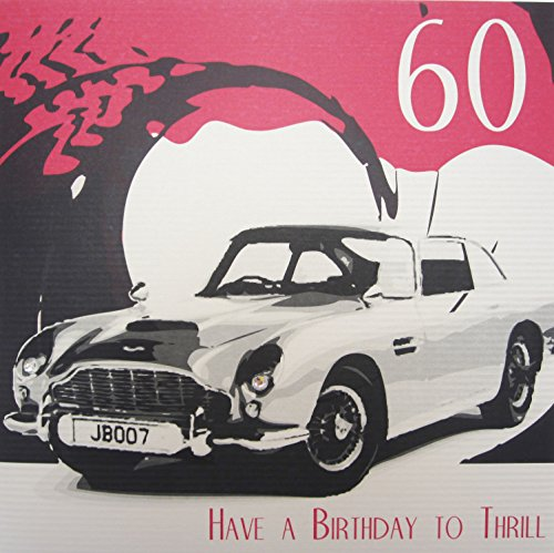 Cotton Handmade Card - WHITE COTTON CARDS 60 Thrill, Handmade Large 60th Birthday Card (Code XSBA60)