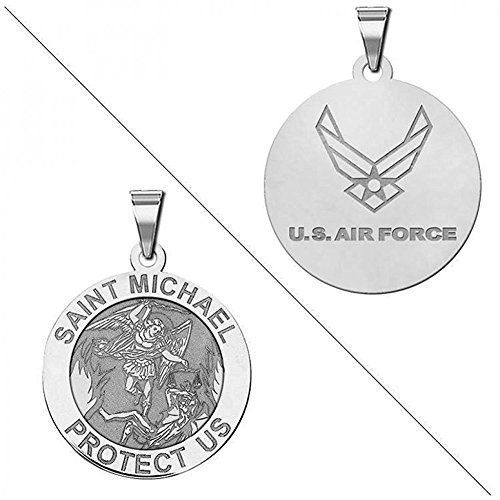 Saint Michael Doubledside AIR FORCE Religious Medal - 3/4 Inch Size of a Nickel - Sterling Silver