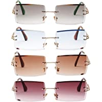 F Fityle 4Pack Fashion Womens Rectangle Cut Tinted Lens Eyewear UV Protection