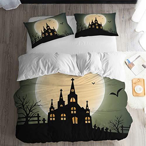 ARL HOME Cartoon Halloween Castle Moon Duvet Cover 3PC King Size Christmas Halloween Bat Bedding Set Super Soft Halloween Bedroom Decoration Festival Gift Bed Cover(2 Pillow Cases)