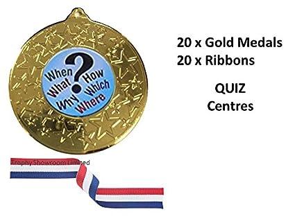 Oro quiz medaglie con nastri, confezione da 20, quiz Night, giochi ...