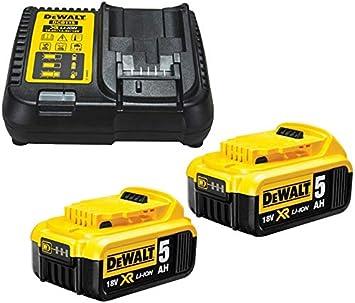 Dewalt B DCB184 5.0ah 18 V XR batería de Iones de Litio Paquete Doble + Cargador DCB115, Amarillo