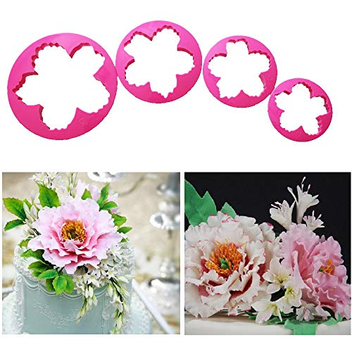 FOUR-C 4pcs Large Peony Flower Fondant Cake Decorative Printing Stamper Cake Decoration Tools Peony Petals Cutter Gum paste Press Fondant Supplies (MJ-NO.86D)