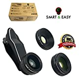 Lens Kit Includes 230° Fisheye Lens - 15X Macro Lens & 0.65X Super Wide Angle Lens - Clip on Cell Phone Lens Camera Lens Kits for iPhone 7, 6s,6,5s,S7,S7 Edge, S6,S6 Edge - HD Camera Lens Kit (Black)