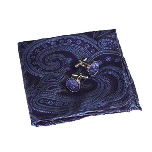 EEF1B01B Blue Work-Utility Poly Pocket Square Woven Microfiber Patterned Handkerchief Cufflinks Set Gift for Holidays By Epoint (Cufflinks Style Square)