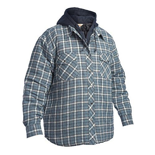 Work King Men's Fooler Front Quilted Shirt with Hood, Flannel, - Quilted Work Flannel Shirt