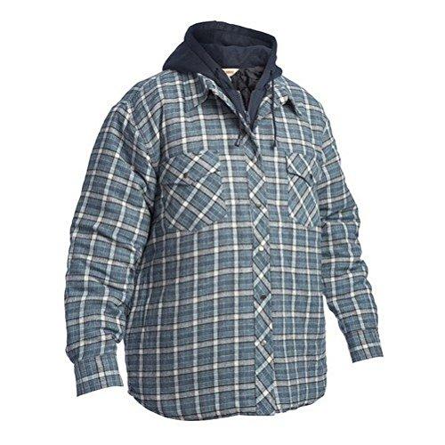 Work King Men's Fooler Front Quilted Shirt with Hood, Flannel, - Flannel Quilted Work Shirt