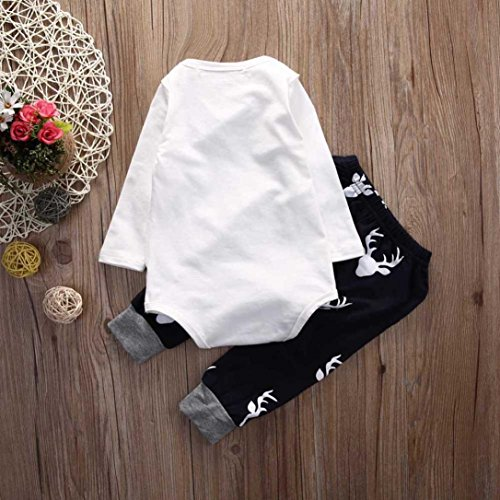Omiky® Neugeborene Säuglingsbaby-Buchstabe-Druck-Spielanzug-Oberseiten + Hosen-Ausstattungs-Kleidung-Satz-Klage Weiß