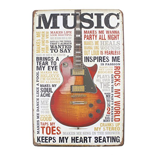 (12x8 Inches Pub,bar,home Wall Decor Souvenir Hanging Metal Tin Sign Plate Plaque (GUITAR MUSIC))