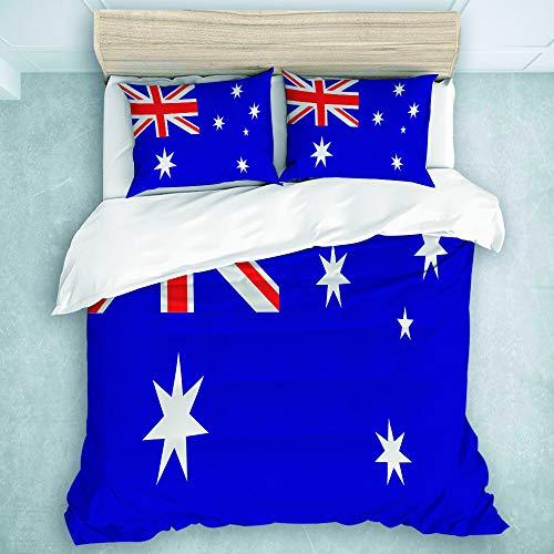 MIFSOIAVV 3-Piece Duvet Cover, Flag of Australia, Duvet Comforter Cover Set (King Size) (King Comforter Sets Australia)