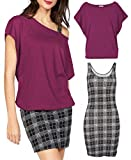 Jusfitsu Women's 2 Piece Outfits Casual T Shirt Tops Plaid Bodycon Mini Tank Summer Dresses Burgundy 2XL