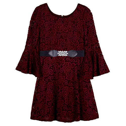 Amy Byer Girls Belted Allover Lace Bellsleeve Dress