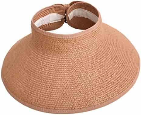 fff3df6e0e2 HDE Women UPF 50+ Packable Crushable Roll Up Wide Brim Sun Visor Beach  Straw Hat